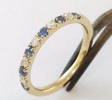 Sapphire Diamond Ring / Band 14 K.Solid Gold Engagement/Anniversary Handmade U.S