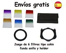 Juego de 6 filtros tipo Cokin colores degradados + anillo + Holder + funda