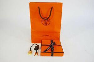 100% Authentic Hermes Birkin Gris Pebble 25 Clemence Gold Padlock w/ Set Keys