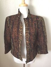 Peck & Peck Zip Jacket Size 14 Multi-Color 97% Poly/3% Spandex Lined in Acetate