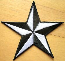Nautical star Aufnäher patch Rockabilly Stern Emo Oldschool schwarz - weiß white