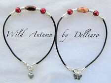 ✫WILD AUTUMN✫ LEATHER WOOD AND METAL ANKLE CHAIN ANKLET ANKLE BRACELET
