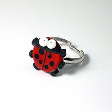 ladybird adjustable ring cute emo