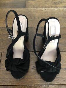 Primark Sandals Size 4 Black Block Heel Faux Suede High Heel Summer Strappy