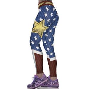 Women Wonder Woman Cosplay Costume Skinny Jogging Pants Yoga Fitness Leggings