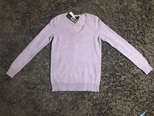 BLOOMINGDALES Sweater Soft 2 Ply Cashmere V-Neck Mar Violet Sz XS  NWT  (R537)