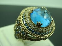 Turkish Handmade Jewelry 925 Sterling Silver Aquamarine Stone Ladies' Ring Sz 9