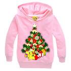 Christmas Tree Kids Pikachu Pokemon Sweatshirt Hoodies Long Sleeve Jumper Outfit
