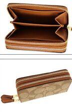 COACH Signature PVC Small Double Zip Coin Case/Card Wallet Khaki/Saddle F63975
