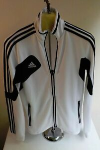 ADIDAS Clima Cool Zipper Front Women's Track Jacket-White/Black-Polyester-SZ MED