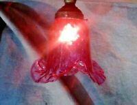 Cranberry Swirl Ribbed Ruffle Pattern Table Lamp Shade Globe Fixture