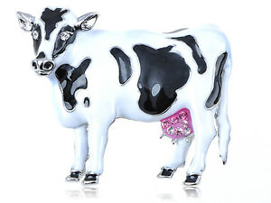 Silver Pink Diamante Crystal Antique Gems Moo Cow Fashion Pin Brooch Party Jewel