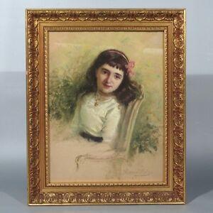 Hervé-Mathé (1868-1953), Antique French Pastel, Portrait, Girl, Paris Salon 1912
