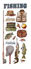"Fishing Scrapbook Stickers + Border 5x12"""