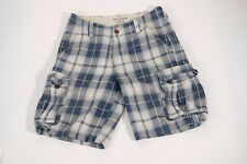 Abercrombie & Fitch drawstring cargo shorts mens size 28 blue plaid check distre