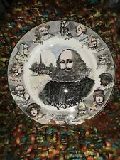 Vtg Royal Doulton Shakespeare Avon Plate D6303 Transferware Characters on Border