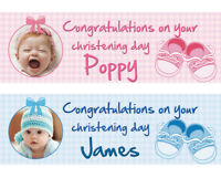 2 Personalised Christening Banner photo 1st Birthday Baby Party Deco BAPTISM