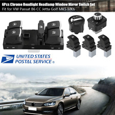 Chrome Headlight Window Mirror Switch Set Fit for VW Passat B6 CC Jetta Golf MK5