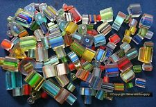 100+/- Cane furnace glass beads lampwork fused art glass multicolr shapd gbs065b