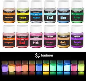 HEMOER Glow in The Dark Pigment Powder, Glowing Powder 12 Colors Luminous Powder