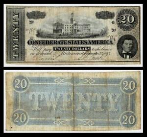 1864 $20 CONFEDERATE  CURRENCY ~RICHMOND