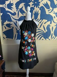 Peasant Halter Top Embroidered Mexican Dress 100% Cotton M