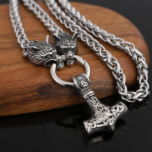 Men's Stainless Steel Norse Viking Wolf&Thor Hammer Pendant Necklace Amulet Gift