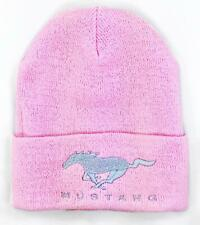 FORD MUSTANG PINK BEANIE CAP WITH RUNNING HORSE EMBROIDERY ADULT SIZING