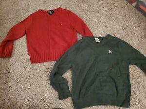 Lot of 2 Ralph Lauren Carter Boys Sweater Pullover Size 4-5