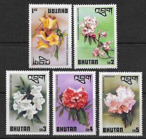 BHUTAN , 1976 , FLOWERS , SET OF 5 , PERF , MNH