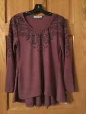 UNITY Embellished Thermal Hourglass Long Sleeve Top Size S Mulberry NWT