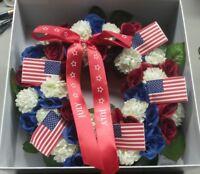 "July Wreath Red White & Blue Flowers Decorative 9"" diameter Willabee & Ward"