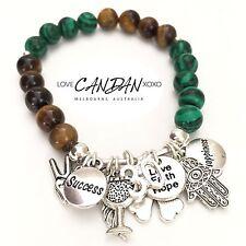 30th Birthday Gift Bracelet Love Faith Hope Evil Eye Hamsa Peace Wing Charms✌🏻
