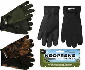 Mens Pro Climate Fishing Neoprene Gloves & Rubber Grips Fold Back Finger/Thumb