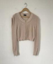 Topshop Women Cardigan Size 14 Pink Knit Cropped Gold Zip Jacket Cotton