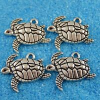 20 Sea Turtle Antique Silver Tone Charms 2 Sided SC7772