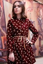 UK Fashion Korean Long Sleeved spring  Floral Print Fashion Corduroy Woman Dress