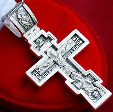 Authentic Large Mens Crucifix Russian Greek Orthodox Silver 925 Prayer. Heavy !!