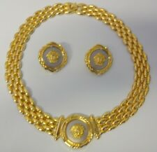 Head Pierced Earrings Necklace Set Vintage Unmarked Gold Tone Medallion Medusa