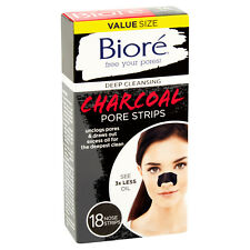 Biore 18 NOSE STRIPS Deep Cleansing CHARCOAL PORE STRIPS Instantly Unclogs Pores