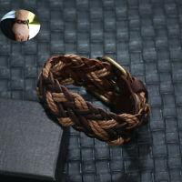 Handmade Leather Bracelet Braided Wrap Wristband Men Punk Women's Surfer Bangle
