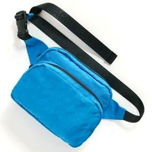 Baggu Pool Blue Fanny Pack / Logo Black Strap Zip Across