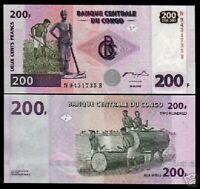 CONGO DR.200 FRANCS P-95 2000 *Single Prefix* UNC TIMBER LOG CURRENCY MONEY NOTE