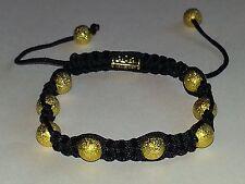 New Shamballa Gold Stardust Beaded Bracelet Tibetan Style Thick Black Nylon Cord