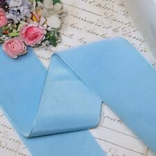 "1y 2"" SKY BLUE FRENCH VELVET RIBBON RAYON FAILLE SATIN MILLINERY HAT FABRIC JACQ"