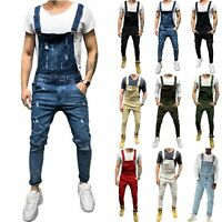 Men Casual Denim Overalls Jeans Bib Pants Distressed Suspender Jumpsuit Trousers