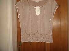bnwt new look mesh embellished bead top cream gold size 14 eur 42 party