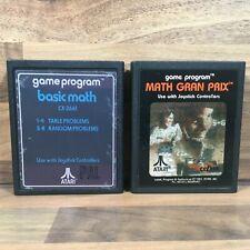 Basic Math & Math Gran Prix Cartridge Computer Games Only Atari 2600 Console