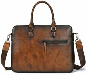Business Bag Briefcase Cow Leather Brown Men's Bag Authentic Patina Leather bag
