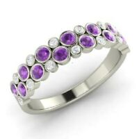 1.00 Ct Amethyst Eternity Engagement Band 14K White Gold Diamond Ring Size O P